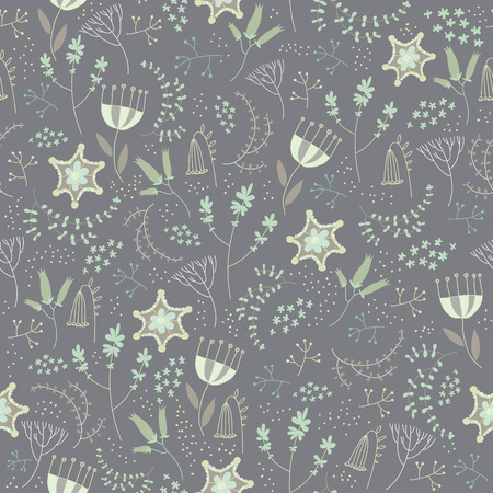 cute background: Vector seamless floral pattern. Romantic cute background with hand drawn flowers. Use as fabric, wrapping paper, decor, background of invitations, cards, etc. Illustration