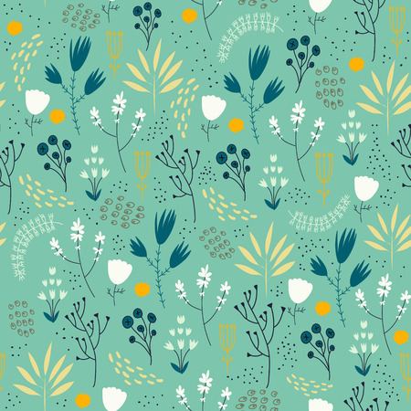 Vector seamless floral pattern. Romantic cute background with hand drawn flowers. Use as fabric, wrapping paper, decor, background of invitations, cards, etc. Ilustração