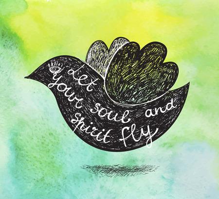 inspiración: Vector cartel inspirado en el fondo verde de la acuarela. Dibujado a mano pájaro con cita. Deje que su alma y su espíritu volar.