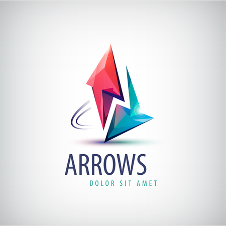up arrow: Vector 3d colorful shiny crystal 2 arrows logo, icon, abstract sign
