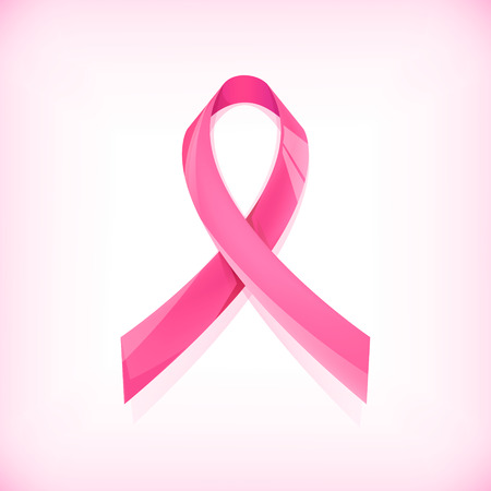 cancer ribbon: Vector breast cancer sign, pink ribbon isolated