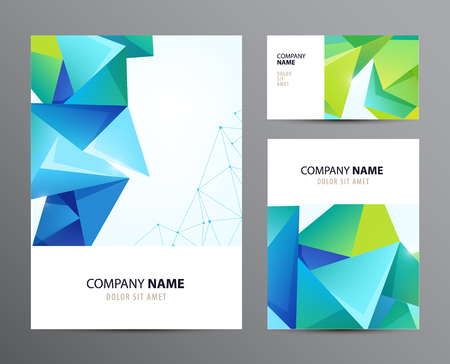 flyer: Vector set of business cards, flyers with faceted crystal 3d modern background. Blue and green Illustration