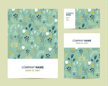 cute cards: Vector business set template with cute hand drawn flower pattern. Business branding elements, cards. Flyer design Illustration