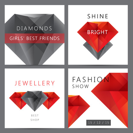 diamonds on black: Vector set of red and black 3d crystals, diamonds cards, banners, flyers, brochures.