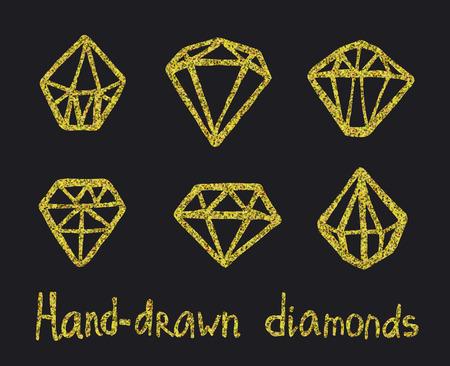 diamonds isolated: Vector set of golden doodle diamonds isolated