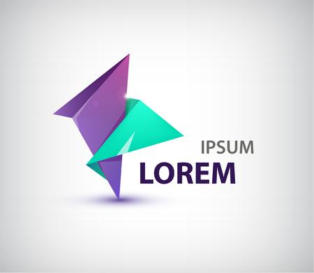 Vector abstract dual origami logo, pictogram geïsoleerd. Paarse en groene kleuren. bedrijfsidentiteit Stock Illustratie