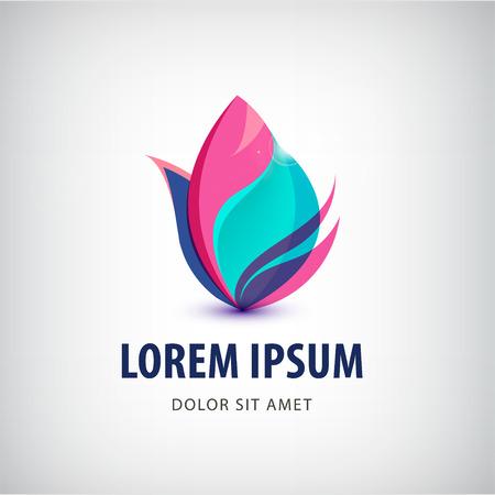 Vector abstrakte 3D-Blume, Lotus Spa-Logo, das Symbol isoliert. Standard-Bild - 46410221