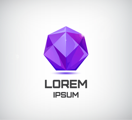 prism: Vector purple crystal 3d geometric logo, icon isolated Illustration