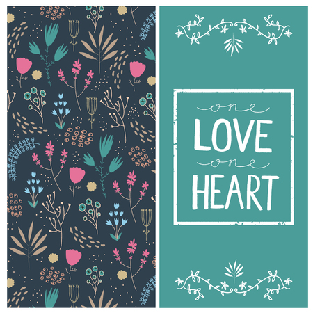 square frame: Vector romantic card with love quote in square frame. One love one heart. Floral hand drawn pattern. Illustration
