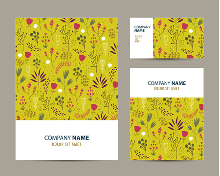 fondo para tarjetas: Vector business set template with cute hand drawn flower pattern. Business branding elements, cards. Flyer design Vectores