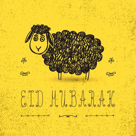 eid mubarak: Illustration of sheep on yellow background for Islamic Festival of Sacrifice, Eid-Al-Adha celebration.