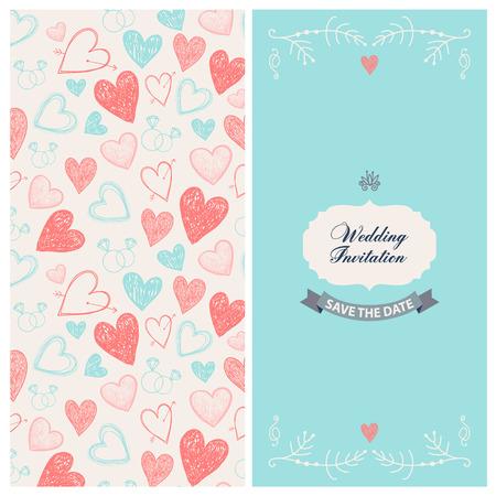 romantic date: Vector romantic wedding invitation. 2 sides. save the date Illustration