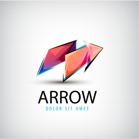 up arrow: Vector 3d colorful shiny crystal arrow logo, icon, abstract sign