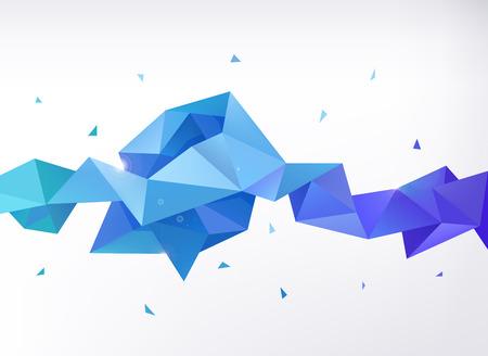 ベクトル抽象的なカラフルな青いファセット結晶バナー、3次元形状の三角形、幾何学的でモダンなテンプレート
