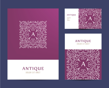 design elements: Vector business set template with monogram letter logo. Business branding elements, cards. Flyer design. Business cards, brochure, cover mock up set