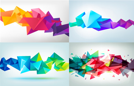 DESIGN: Vector set of faceted 3d crystal colorful shapes, banners.