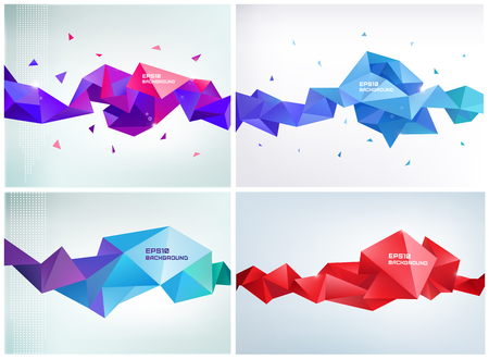 background card: Vector set of faceted 3d crystal colorful shapes, banners.