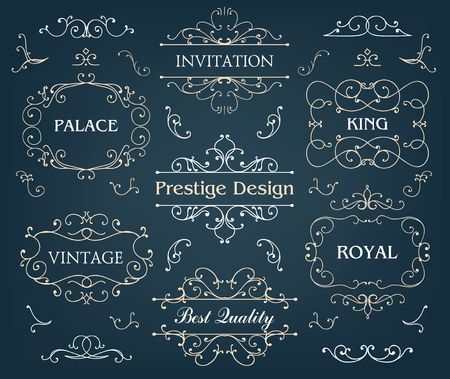 prestige: Vector set of calligraphic design elements page decoration, Premium Quality and Satisfaction Guarantee Label, antique and baroque frames, logo samples. Chalk board Illustration