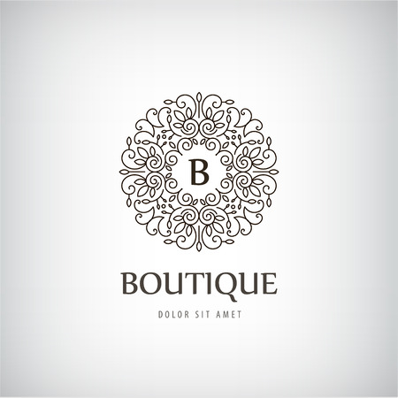Vector Luxury Vintage logo, icon isolated with swirls, monogram