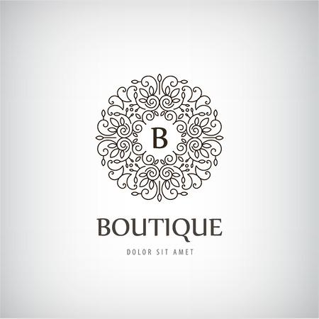 Vector Luxury vintage logo, pictogram geïsoleerd met wervelingen, monogram