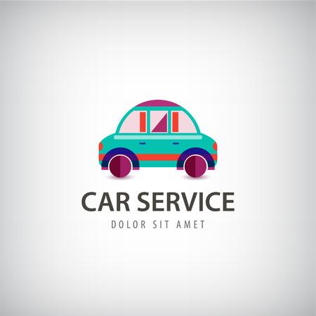 carritos de juguete: Vector servicio de coche logotipo, el icono aislado. Identidad. diseño colorido moderno plana Vectores