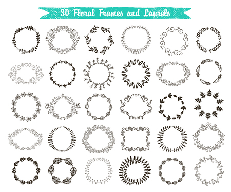 marcos redondos: Vector conjunto de 30 cuadros y laureles dibujados a mano. Floral, remolino, coronas de la vendimia aislado.
