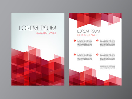 vector flyer, red brochure abstract design 2 sides, background, cover. Modern crystal, geometric Illustration