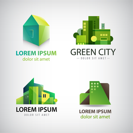 green building: Vector set of green building icons