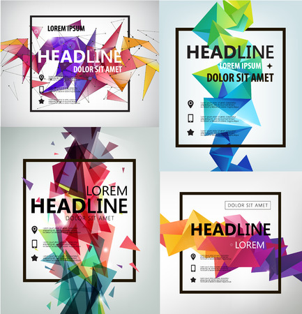Vector Poster, Banner, Flyer, Cover, Brochure Template design. Modern crystal 3d shape with text space and square frame. Set