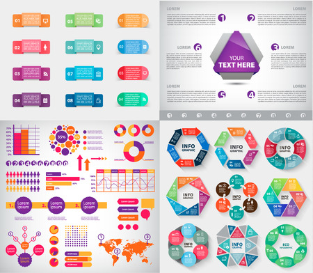etiqueta: Vector set of infographics, charts, paper stickers and labels with realistic shadows for infographic set. Template for diagram, graph, presentation. Vector circle infographics, business template Vectores