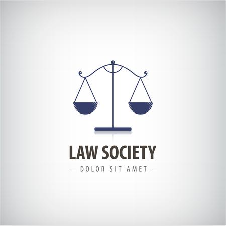 firme: iconos de la Oficina de Derecho de vectores. El juez, plantilla bufete de abogados, abogado etiqueta.
