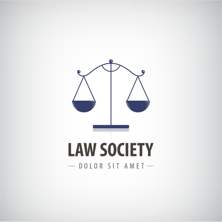 Vector Law office icon. The judge, Law firm template, lawyer label.