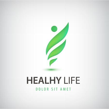 Vector healthy life, wavy man, icon