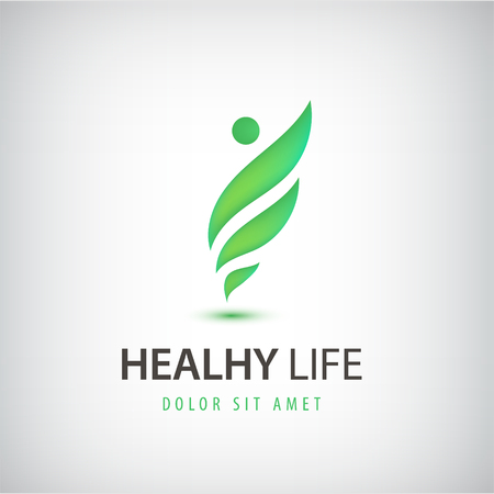 simple life: Vector healthy life, wavy man, icon