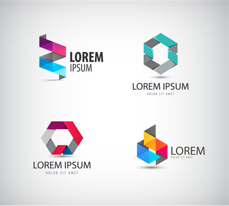 Vector set of abstract colorful ribbon, origami, paper, 3d ions. Identity for company, web site Illustration