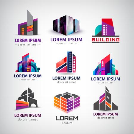 logo batiment: Vector ensemble de coloré, moderne, bureau, bâtiments de l'entreprise, gratte-ciel logos, icônes isolés. Identité