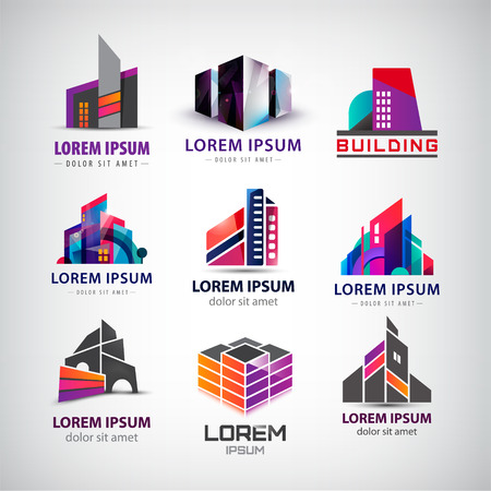 architect office: Vector set of colorful, modern office, company buildings, skyscrapers logos, icons isolated. Identity Illustration