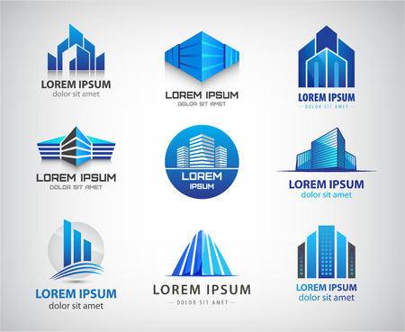 Vector set of blue, modern office, company buildings, skyscrapers icons isolated. Identity
