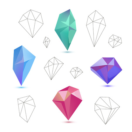 Vector set of colorful 3d and line diamonds, crystals isolated on white background Illustration