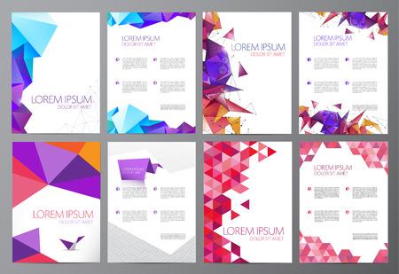 vector conjunto de volantes, folletos diseño abstracto 2 lados, fondo, cubierta. cristalina moderna, origami, plantillas geométricas