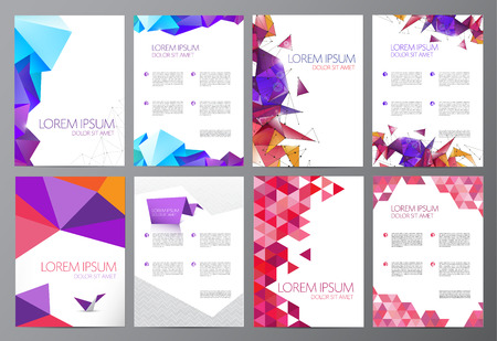 design vector: vector set of flyers, brochures abstract design 2 sides, background, cover. Modern crystal, geometric, origami templates