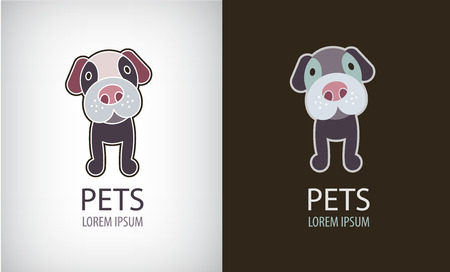 Vector set of funny cartoon dog logo, icon, illustartion. Cute puppy badge