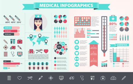 Vector chăm sóc y tế, sức khỏe, bệnh viện, bác sĩ tập Infographic với các biểu tượng, biểu đồ, bản đồ thế giới. Thiết kế phẳng hiện đại