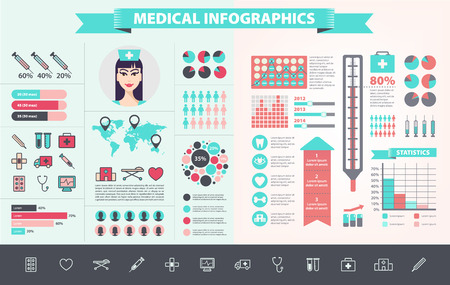 Vector medical, health care, hospital, doctor infographic set with icons, charts, world map. Modern flat design