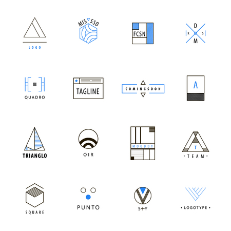 minimal: Vector set of minimal geometric hipster logos, icons, signs. Abstract logos collection on white background