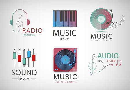retro radio: Vector set of music logos, signs isolated Illustration