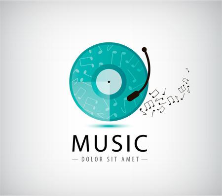 music player: Music vinyl retro vintage logo, icon isolated