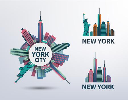 뉴욕, 뉴욕시 아이콘, 로고, 일러스트레이션, 배너의 집합입니다. 자유의 스카이 라인, 동상