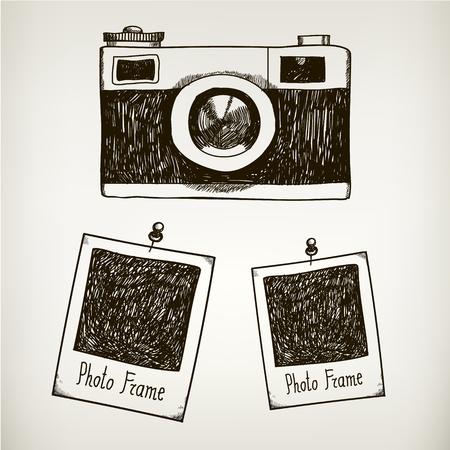 Vector dibujado a mano ilustración con la cámara de la vendimia retro y marcos de fotos polaroid. Aislada Foto de archivo - 47401273