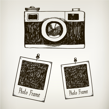 camera: Vector hand drawn illustration with retro vintage camera and photo polaroid frames. Isolated Illustration